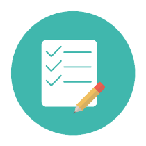 icon depicting paper and pencil with check marks
