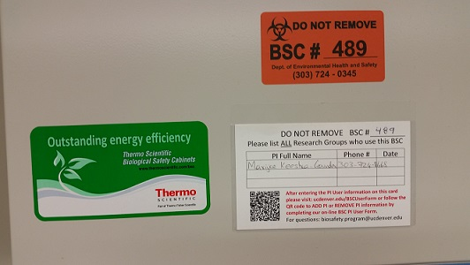 BSC card number and label
